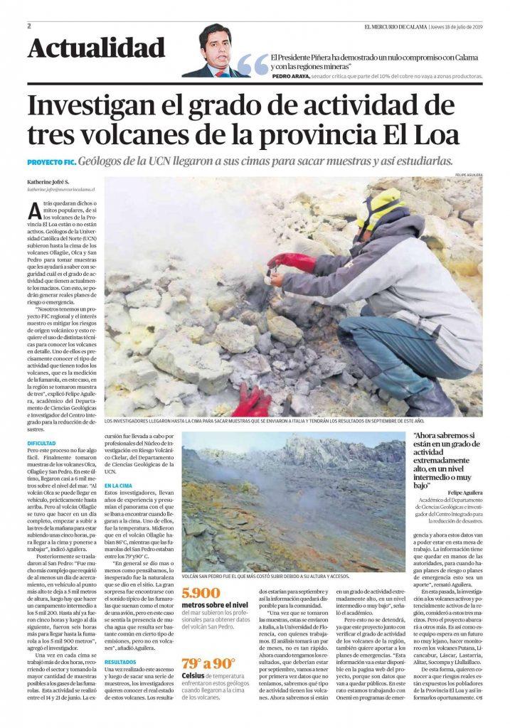 Investigan el grado de actividad de tres volcanes de la provincia El Loa